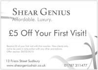 £5 off Voucher your first visit to Shear Genius