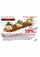 15% OFF at the County Hotel
