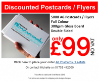 5,000 Postcards for £99 NO VAT