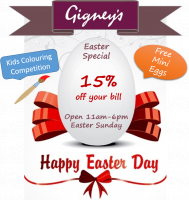 15% off your bill on Easter Sunday