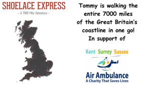 The Shoelace Express sets off in support of Sussex Air Ambulance - sponsored by PRB Consulting
