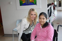 TV presenter  Laura Hamilton visits the Children's Trust in Tadworth @childrens_trust