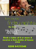Friday Night is Music Night at Spaghetti Tree Sutton – Free bottle of wine for tables of 6 or more