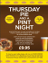 Thursday Pie and a Pint Night