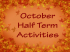 Half Term: TVAC kids activities