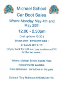 Michael Primary School Car Boot Sale 4th & 25th May
