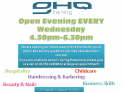Open Evening EVERY Wednesday 4.30pm - 6.30pm
