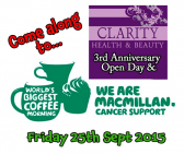 MacMillan Cancer Support Coffee Morning at Clarity Heath & Beauty St  Neots