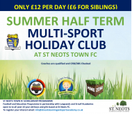HALF TERM HOLIDAY CLUB MULTI-SPORT AT ST NEOTS TOWN FC