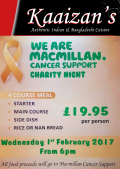 MacMillan Cancer Support Charity Night at Kaaizans Indian Restuarant St Neots