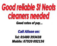 Cleaners required in the St Neots area..