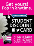 Grab your STUDENT DISCOUNT CARD