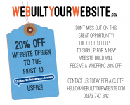 20% OFF for the first 10 people that book for a NEW web design @WeBuiltYourSite