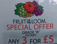 3 FOR £5 ON FRUITS OF THE LOOM T SHIRTS
