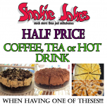 Half Price Coffee, Tea or Hot Drink..