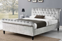 SAVE up to £40 on St. James Silver Crushed Velvet Sleigh Bed Frame at CrazyPriceBeds!