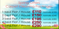 Spring Clean your carpets - 1 bed house just £110, 5 beds only £290. Save up to £110!