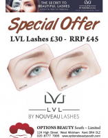Special Offer on LVL Lashes from Options Beauty