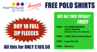 Buy 10 Embroidered Fleeces & Get 10 Embroidered Polos FREE!