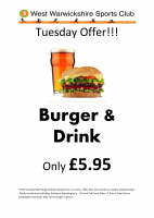 Tuesday Burger & Drink offer
