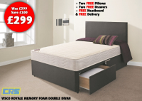 Free delivery, free drawers, free pillows and free headboard!