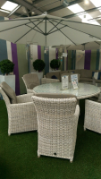 FREE CANTILEVER PARASOL WITH ANCONA SIX SEAT SET