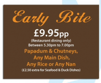 Early Bite - restaurant dining only with a free drink Mon-Weds