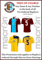 Any name & number added to the back of pre-ordered replica shirts FREE of charge