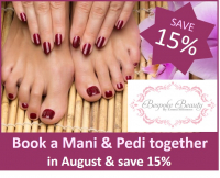 15% off when you book a manicure and pedicure together in August