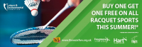 Under 16s can enjoy free racquet sports this summer when playing with a full paying player.