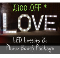 £100 off LOVE Letters & Photo Booth Package