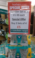 4 TUMBLER GLASSES JUST £1.99 OR 3 SETS FOR £5