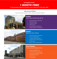 1 Month Free – Serviced Offices in Sutton, Epsom, New Malden
