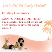 Existing Customers get 50% OFF Tanning Courses After Purchasing 2 Sachets/Bottles of Tanning Lotion