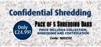 Confidential Shredding 5 bags only £24.99