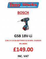 Bosch Cordless Combi Drill now only £149 inc. VAT!