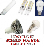 LED SPOT LIGHTS FROM ONLY £3.60  Save money on your electricity bills...