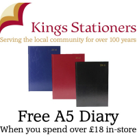 Spend over £18 instore and receive a FREE A5 2016 diary