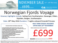 Norwegian Fjords Voyage from £699 per person!