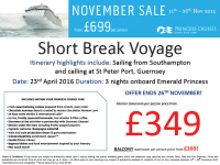 Short Break Voyage from £349 per person!
