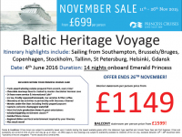 Baltic Heritage Voyage from £1149 per person!