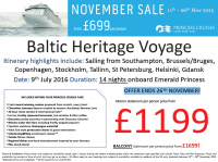 Baltic Heritage Voyage from £699 per person!