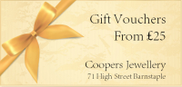 Gift Vouchers from Coopers Jewellery Barnstaple