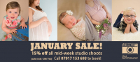 January Sale! Enjoy 15% off  all mid-week studio shoots.
