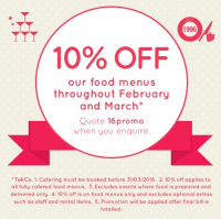 10% off all catering menus until the end of March