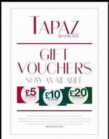 Gift Vouchers from Tapaz Restaurant
