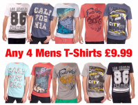 MENS T SHIRTS SALE - 4 FOR JUST £9.99
