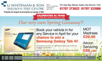 Book in for a service with LJ Whiteman & Win A Samsung Galaxy Tab 4