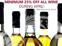 25% OFF ALL WINES DURING APRIL AT BUCKTROUTS