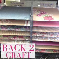 Scrap-book craft patterned papers offer at Back to Craft